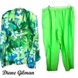 Diane Gilman 100% Silk 2 pc Outfit Sz 3X